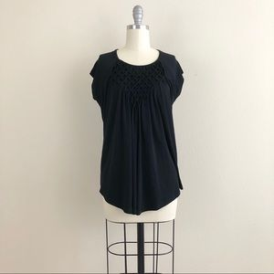 Premise Black Cap Sleeve Diamond Weave Blouse